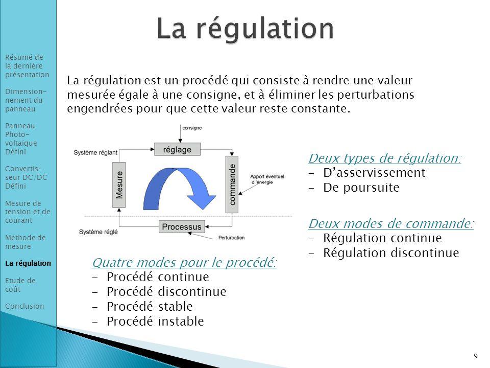 La régulation est un procédé qui consiste à rendre une valeur mesurée égale à une consigne, et à éliminer les perturbations engendrées pour que cette valeur reste constante.