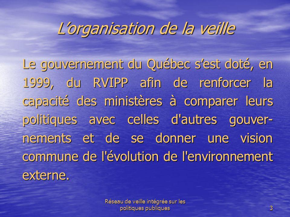 Réseau de veille intégrée sur les politiques publiques3 L'organisation de la veille Le gouvernement du Québec s'est doté, en 1999, du RVIPP afin de re