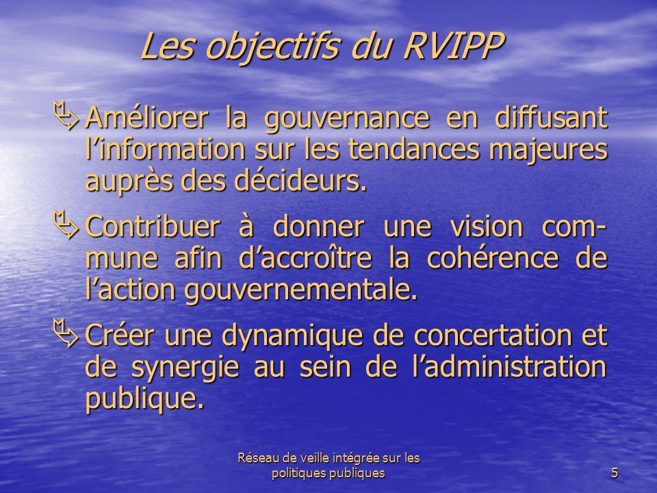 Réseau de veille intégrée sur les politiques publiques5 Les objectifs du RVIPP  Améliorer la gouvernance en diffusant l'information sur les tendances