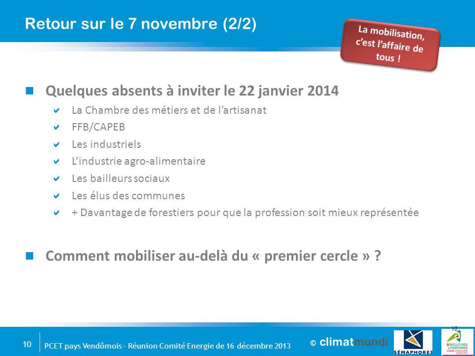 10 PCET pays Vendômois – Réunion Comité Energie de 16 décembre 2013 Quelques absents à inviter le 22 janvier 2014  La Chambre des métiers et de l'art