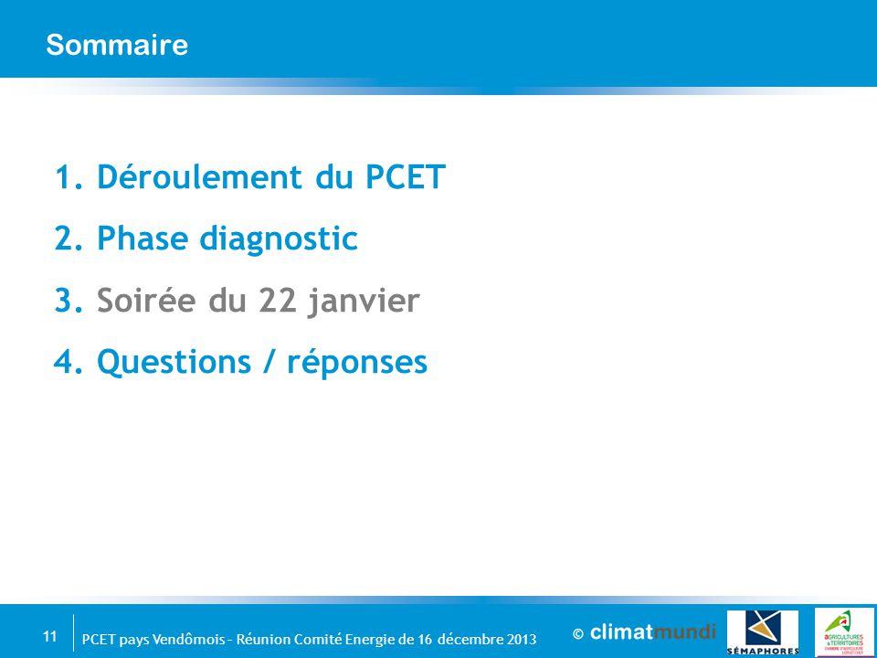 11 PCET pays Vendômois – Réunion Comité Energie de 16 décembre 2013 Sommaire 1.Déroulement du PCET 2.Phase diagnostic 3.Soirée du 22 janvier 4.Questio
