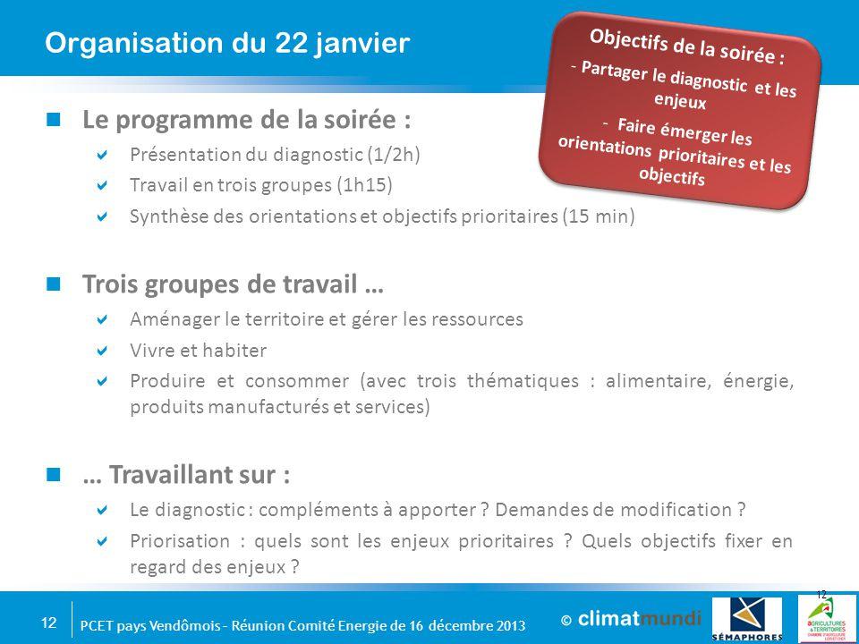 12 PCET pays Vendômois – Réunion Comité Energie de 16 décembre 2013 Le programme de la soirée :  Présentation du diagnostic (1/2h)  Travail en trois
