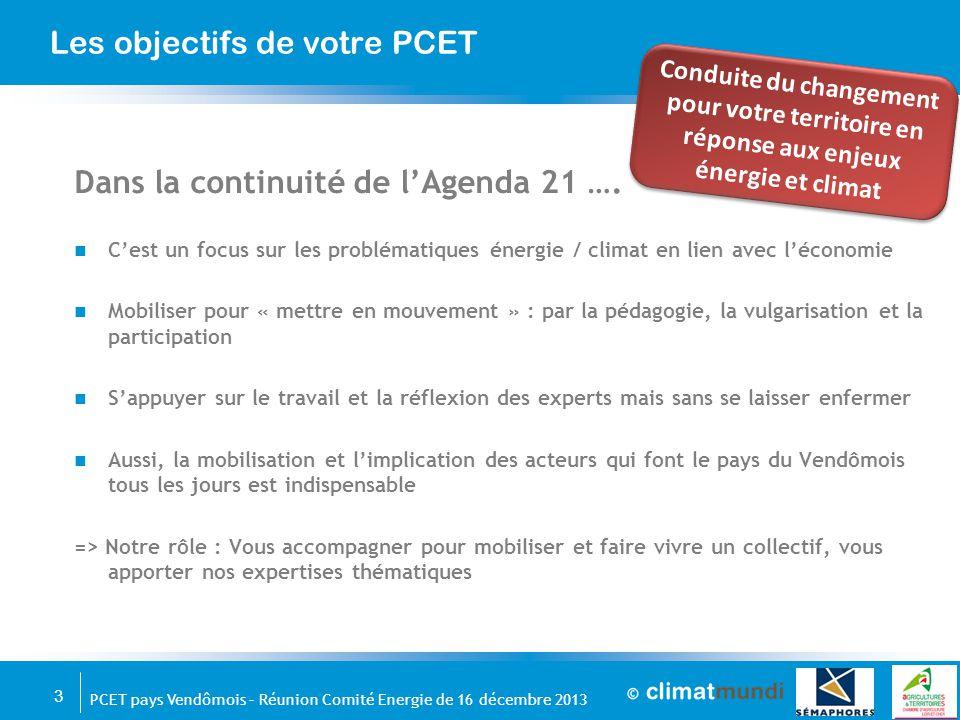 3 PCET pays Vendômois – Réunion Comité Energie de 16 décembre 2013 Les objectifs de votre PCET Dans la continuité de l'Agenda 21 …. C'est un focus sur