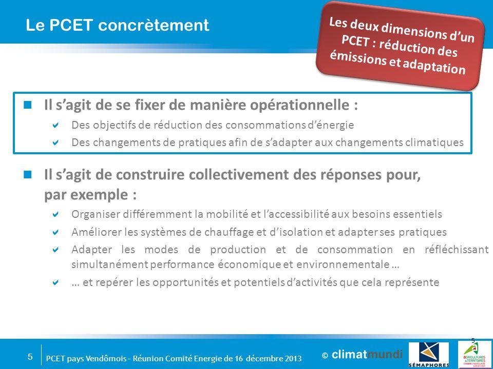 5 PCET pays Vendômois – Réunion Comité Energie de 16 décembre 2013 Il s'agit de se fixer de manière opérationnelle :  Des objectifs de réduction des