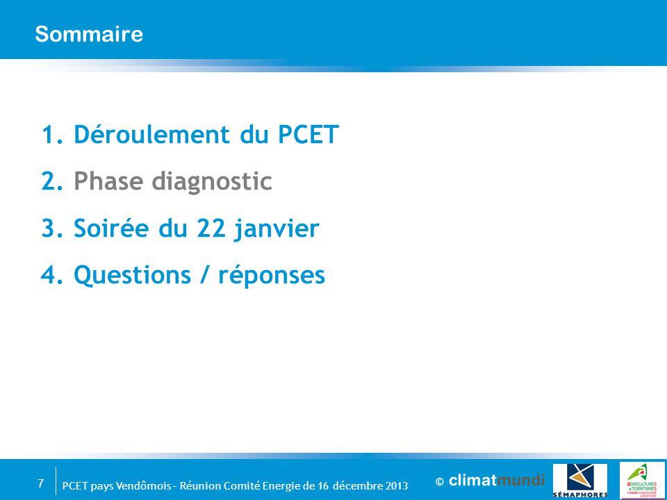 7 PCET pays Vendômois – Réunion Comité Energie de 16 décembre 2013 Sommaire 1.Déroulement du PCET 2.Phase diagnostic 3.Soirée du 22 janvier 4.Question