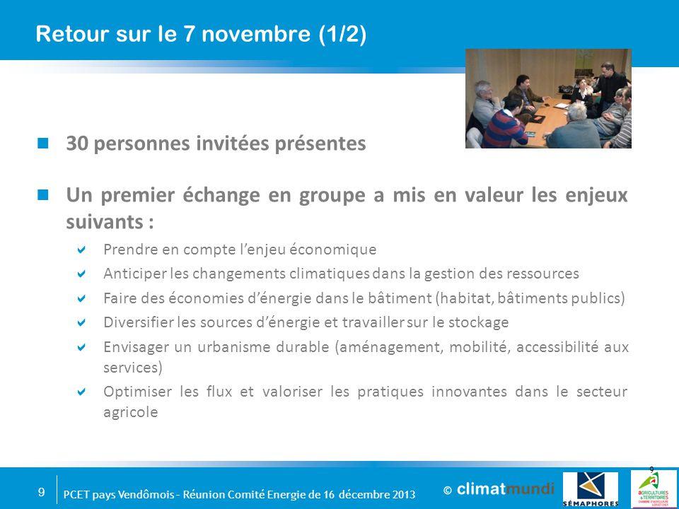 9 PCET pays Vendômois – Réunion Comité Energie de 16 décembre 2013 30 personnes invitées présentes Un premier échange en groupe a mis en valeur les en