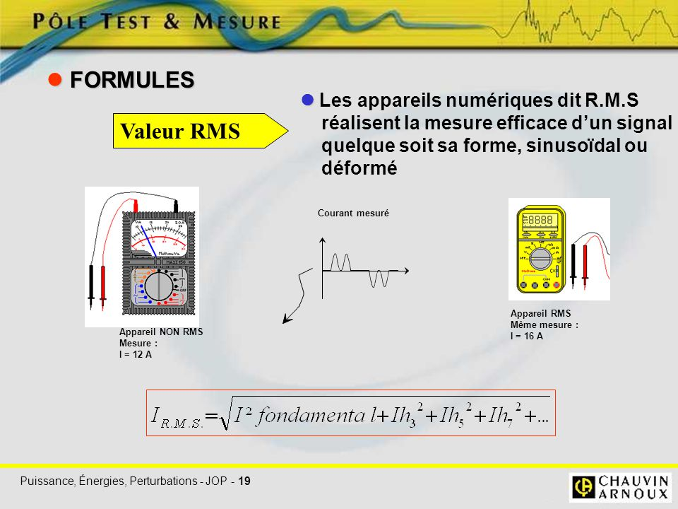 Puissance, Énergies, Perturbations - JOP - 19 Les appareils numériques dit R.M.S réalisent la mesure efficace d'un signal quelque soit sa forme, sinus