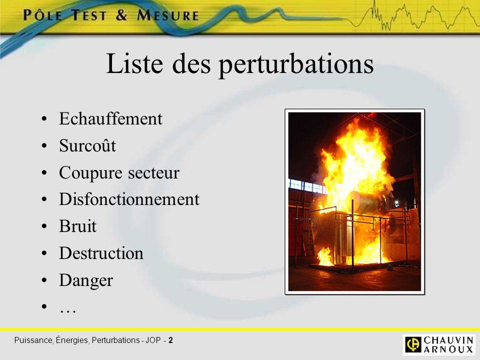 Puissance, Énergies, Perturbations - JOP - 2 Liste des perturbations Echauffement Surcoût Coupure secteur Disfonctionnement Bruit Destruction Danger …