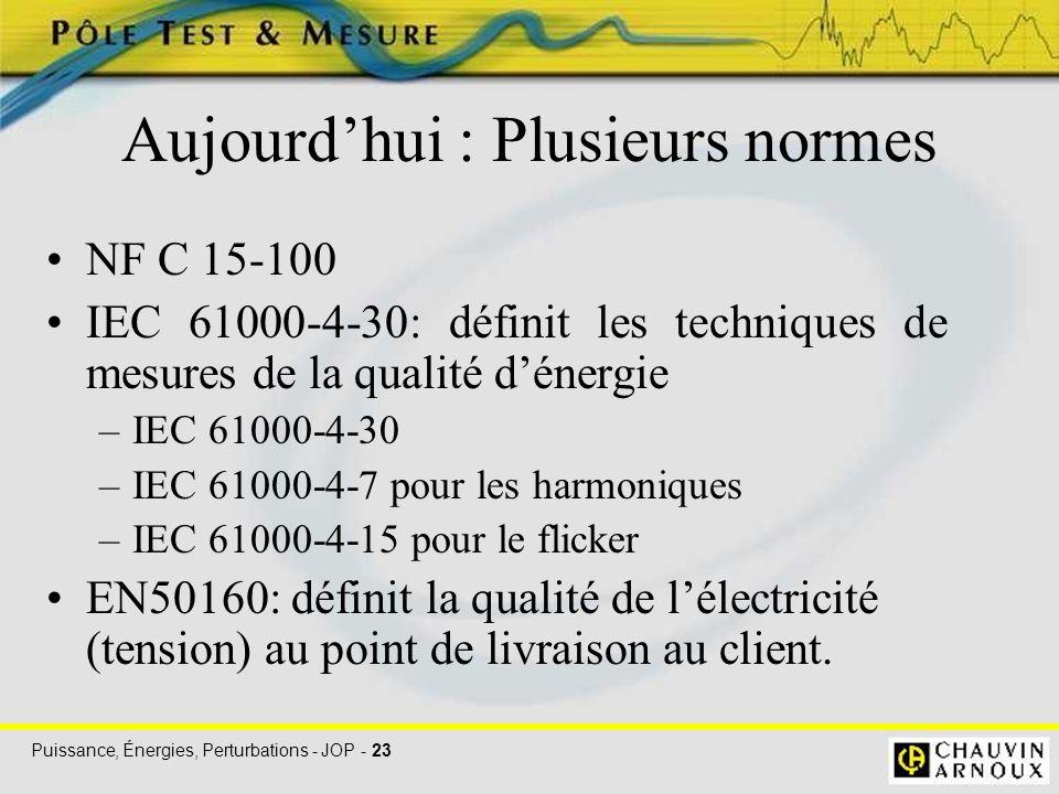Puissance, Énergies, Perturbations - JOP - 23 Aujourd'hui : Plusieurs normes NF C 15-100 IEC 61000-4-30: définit les techniques de mesures de la quali