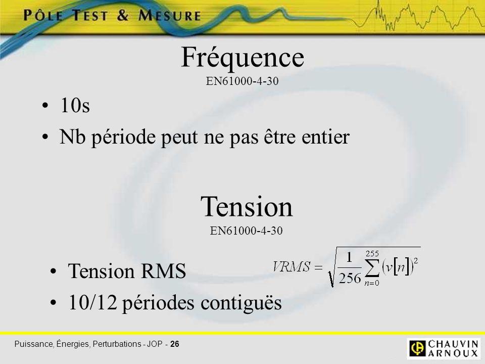 Puissance, Énergies, Perturbations - JOP - 26 Fréquence EN61000-4-30 10s Nb période peut ne pas être entier Tension EN61000-4-30 Tension RMS 10/12 pér