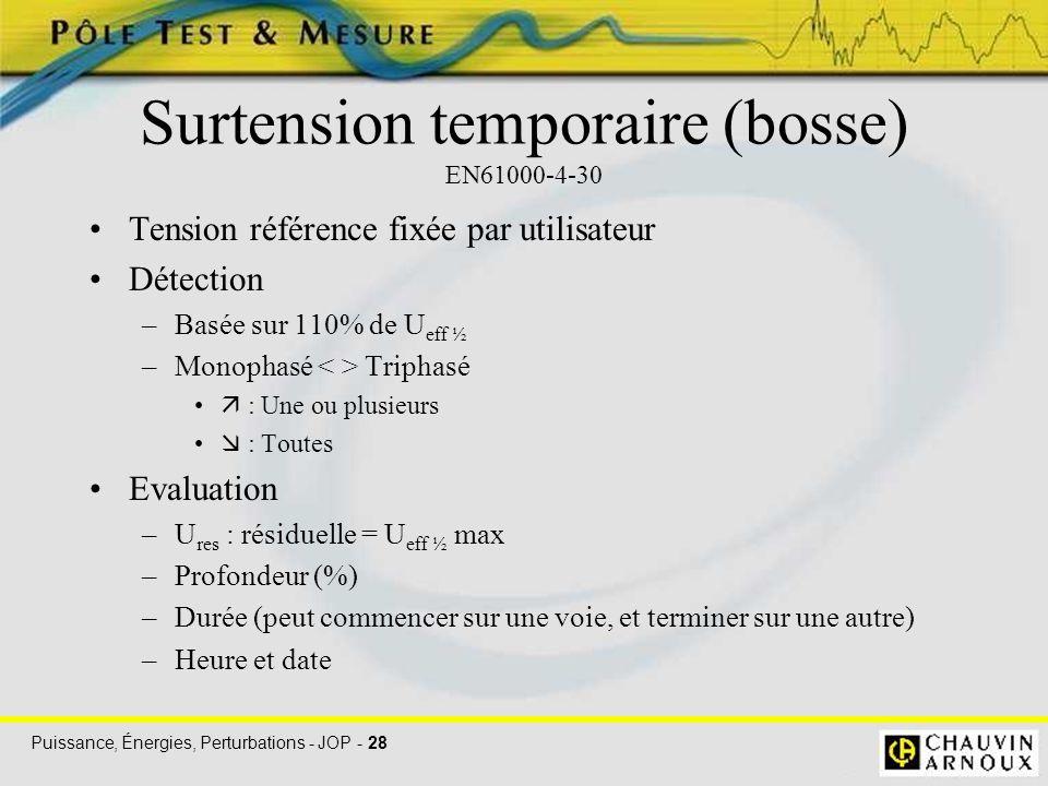 Puissance, Énergies, Perturbations - JOP - 28 Surtension temporaire (bosse) EN61000-4-30 Tension référence fixée par utilisateur Détection –Basée sur