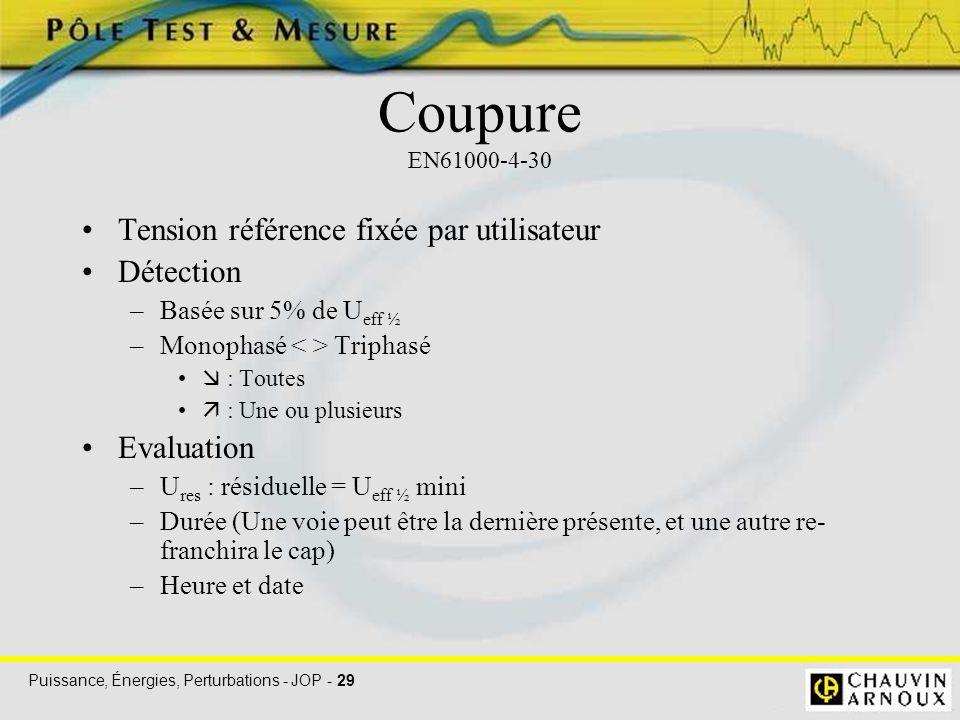 Puissance, Énergies, Perturbations - JOP - 29 Coupure EN61000-4-30 Tension référence fixée par utilisateur Détection –Basée sur 5% de U eff ½ –Monopha