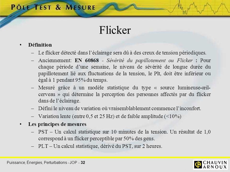 Puissance, Énergies, Perturbations - JOP - 32 Flicker Définition –Le flicker détecté dans l'éclairage sera dû à des creux de tension périodiques. –Anc