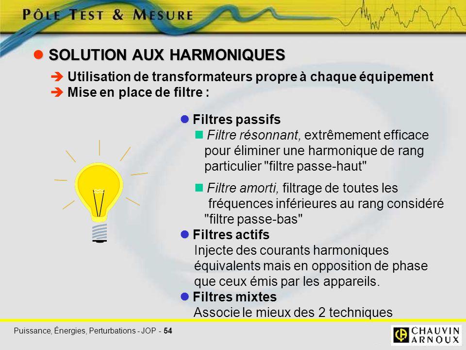 Puissance, Énergies, Perturbations - JOP - 54 SOLUTION AUX HARMONIQUES SOLUTION AUX HARMONIQUES Filtres passifs Filtre résonnant, extrêmement efficace