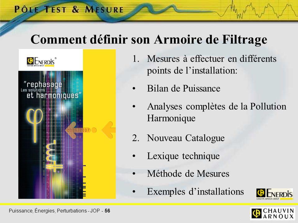 Puissance, Énergies, Perturbations - JOP - 56 Comment définir son Armoire de Filtrage 1.Mesures à effectuer en différents points de l'installation: Bi