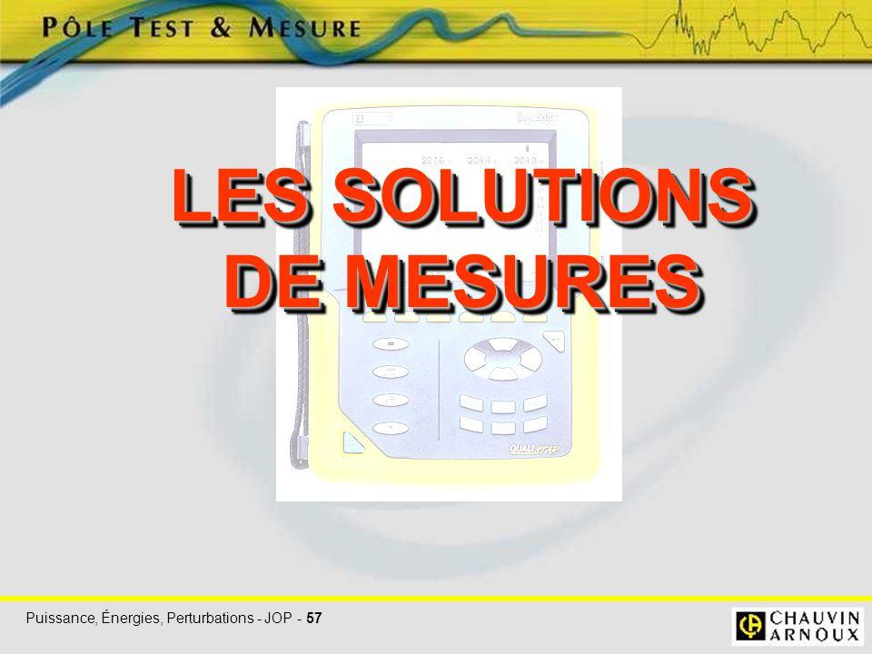 Puissance, Énergies, Perturbations - JOP - 57 LES SOLUTIONS DE MESURES