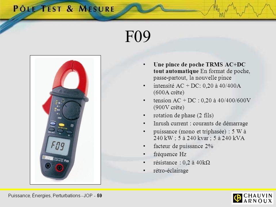 Puissance, Énergies, Perturbations - JOP - 59 F09 Une pince de poche TRMS AC+DC tout automatique En format de poche, passe-partout, la nouvelle pince