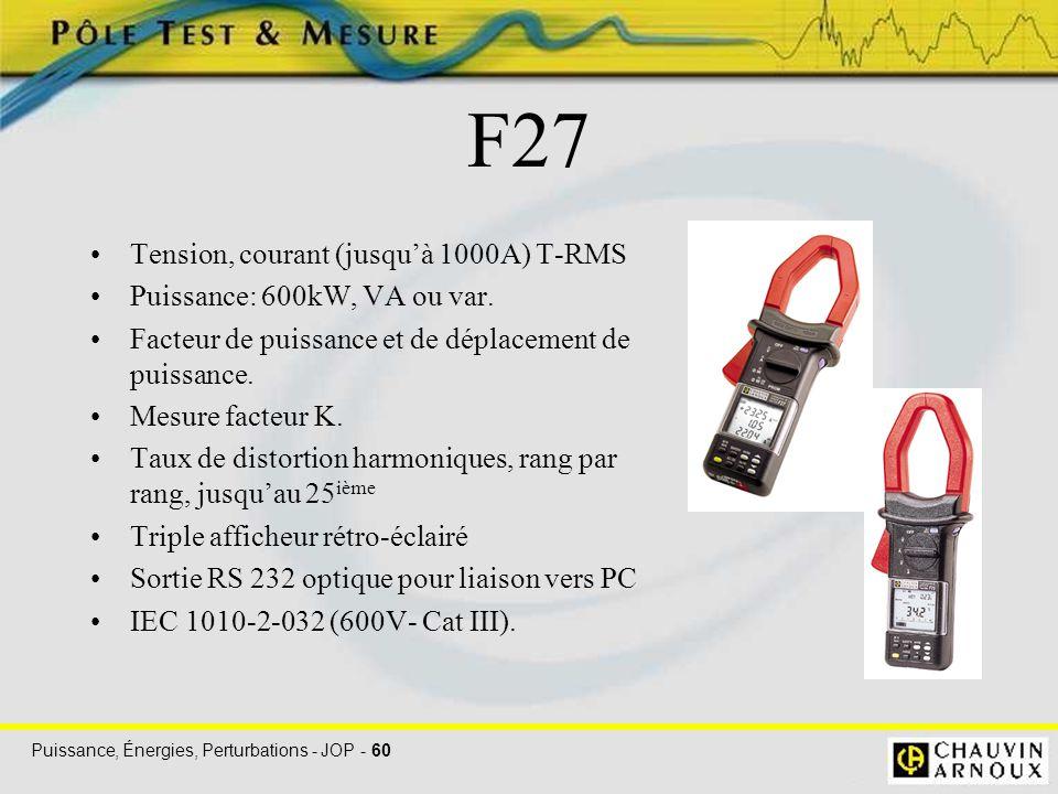 Puissance, Énergies, Perturbations - JOP - 60 F27 Tension, courant (jusqu'à 1000A) T-RMS Puissance: 600kW, VA ou var. Facteur de puissance et de dépla