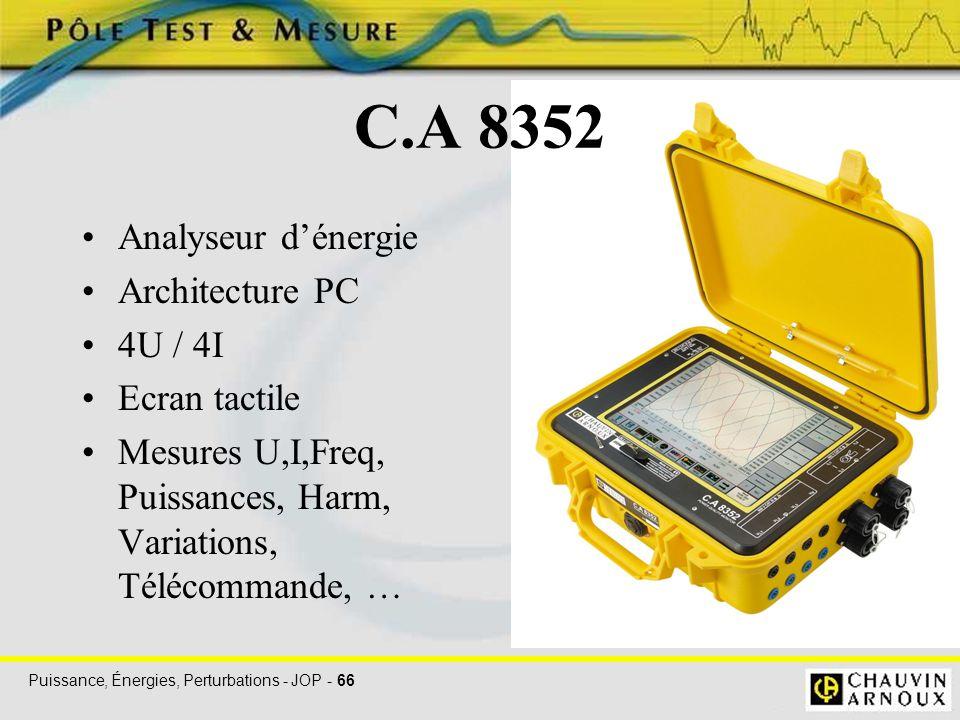 Puissance, Énergies, Perturbations - JOP - 66 C.A 8352 Analyseur d'énergie Architecture PC 4U / 4I Ecran tactile Mesures U,I,Freq, Puissances, Harm, V