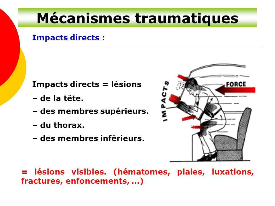 Impacts directs : Impacts directs = lésions – de la tête. – des membres supérieurs. – du thorax. – des membres inférieurs. = lésions visibles. (hémato