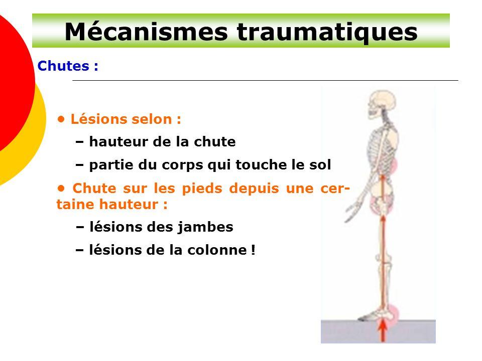 Mécanismes traumatiques Chutes : Lésions selon : – hauteur de la chute – partie du corps qui touche le sol Chute sur les pieds depuis une cer- taine h