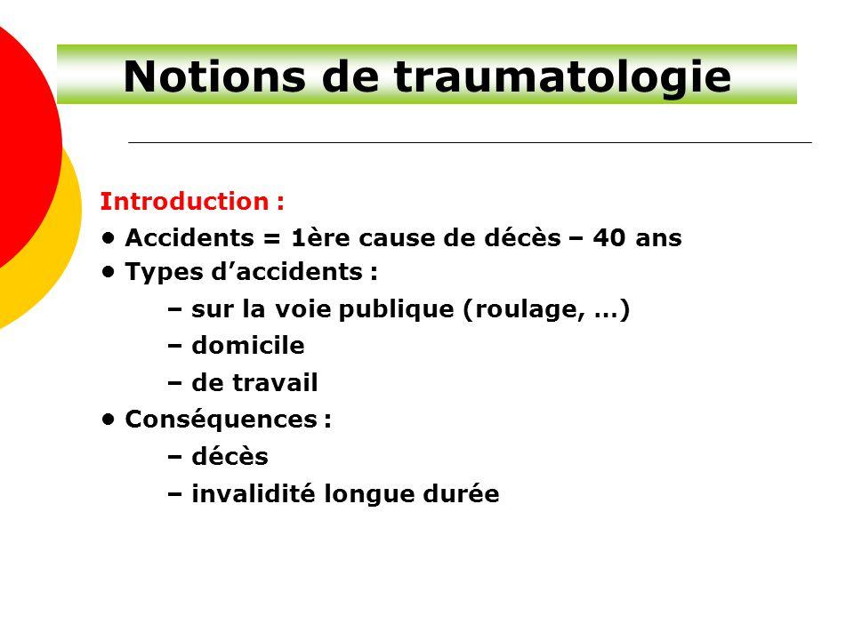 Notions de traumatologie Introduction : Accidents = 1ère cause de décès – 40 ans Types d'accidents : – sur la voie publique (roulage, …) – domicile –
