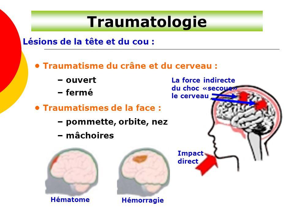 Lésions de la tête et du cou : Traumatisme du crâne et du cerveau : – ouvert – fermé Traumatismes de la face : – pommette, orbite, nez – mâchoires Hém