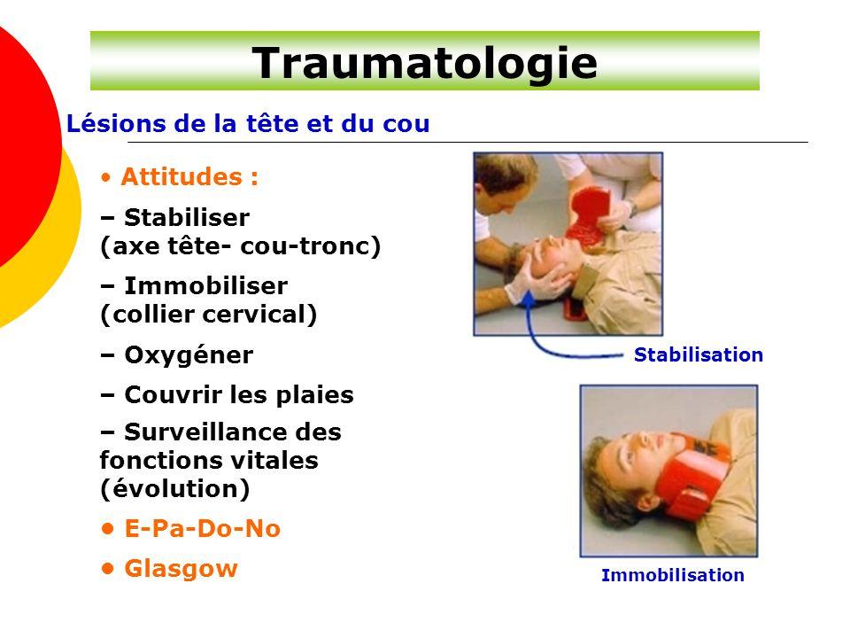 Traumatologie Lésions de la tête et du cou Attitudes : – Stabiliser (axe tête- cou-tronc) – Immobiliser (collier cervical) – Oxygéner – Couvrir les pl