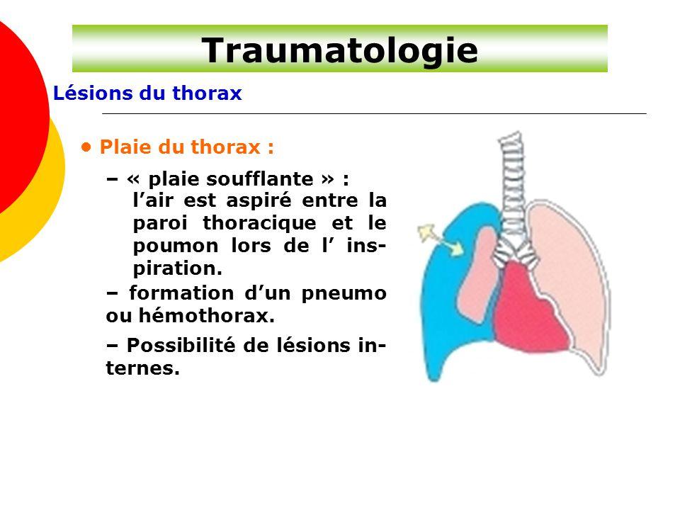 Lésions du thorax Traumatologie Plaie du thorax : – « plaie soufflante » : l'air est aspiré entre la paroi thoracique et le poumon lors de l' ins- pir