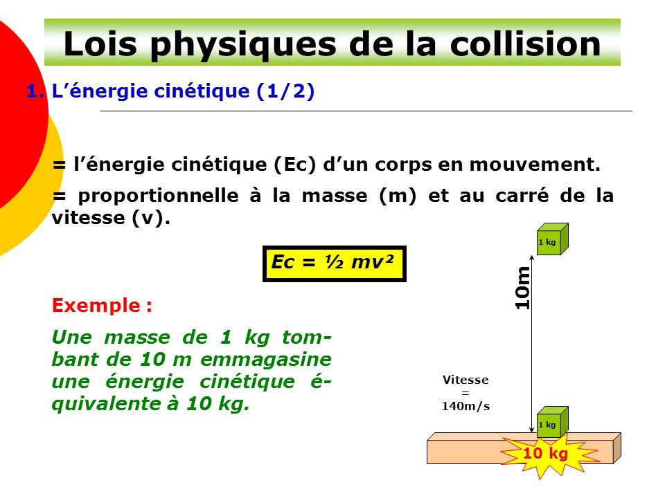 Lois physiques de la collision 1. L'énergie cinétique (1/2) = l'énergie cinétique (Ec) d'un corps en mouvement. = proportionnelle à la masse (m) et au