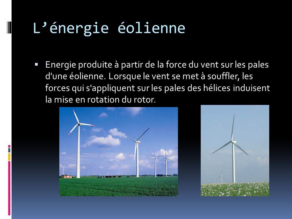 L'énergie éolienne  Energie produite à partir de la force du vent sur les pales d une éolienne.
