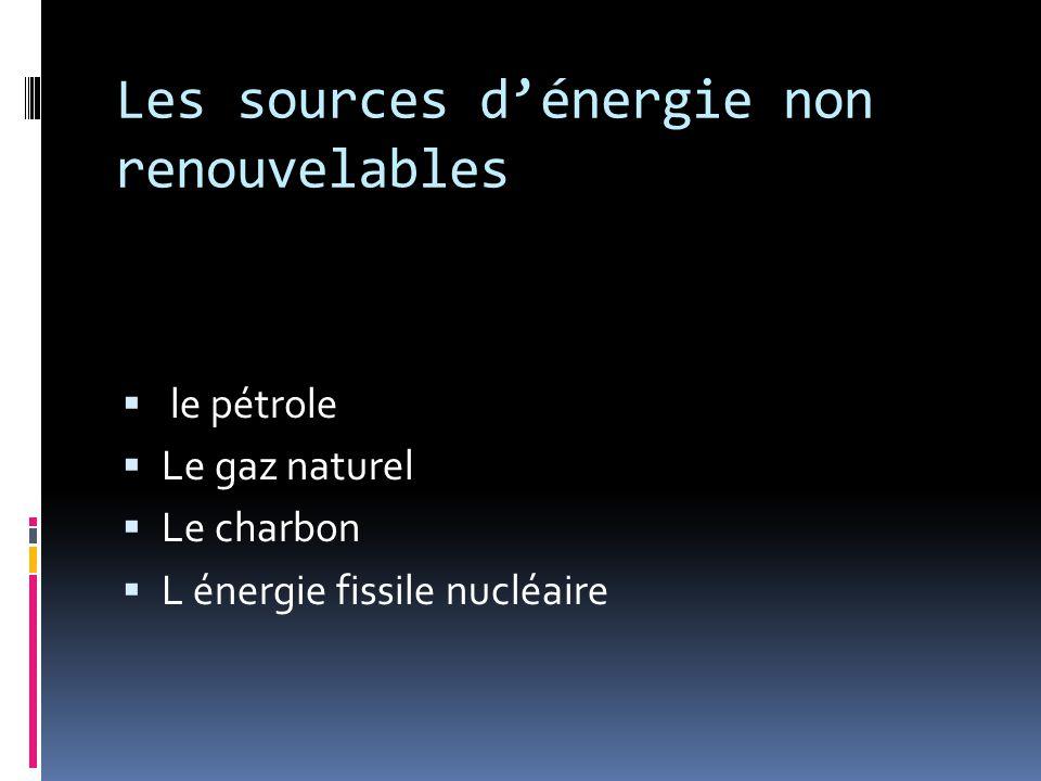 Les sources d'énergie non renouvelables  le pétrole  Le gaz naturel  Le charbon  L énergie fissile nucléaire
