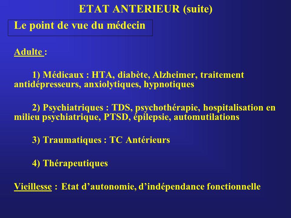 ETAT ANTERIEUR (suite) Le point de vue du médecin Adulte : 1) Médicaux : HTA, diabète, Alzheimer, traitement antidépresseurs, anxiolytiques, hypnotiques 2) Psychiatriques : TDS, psychothérapie, hospitalisation en milieu psychiatrique, PTSD, épilepsie, automutilations 3) Traumatiques : TC Antérieurs 4) Thérapeutiques Vieillesse : Etat d'autonomie, d'indépendance fonctionnelle