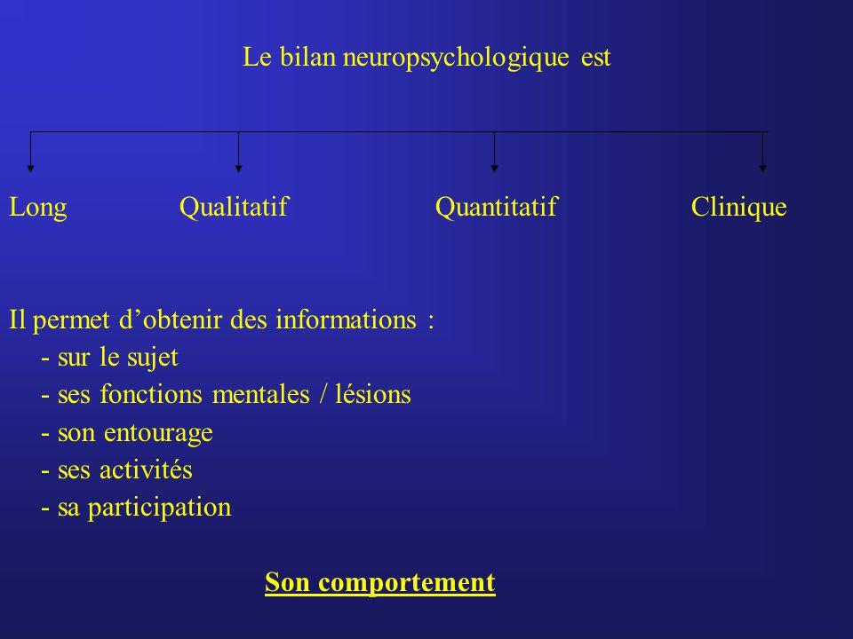 Le bilan neuropsychologique est Long QualitatifQuantitatifClinique Il permet d'obtenir des informations : - sur le sujet - ses fonctions mentales / lésions - son entourage - ses activités - sa participation Son comportement