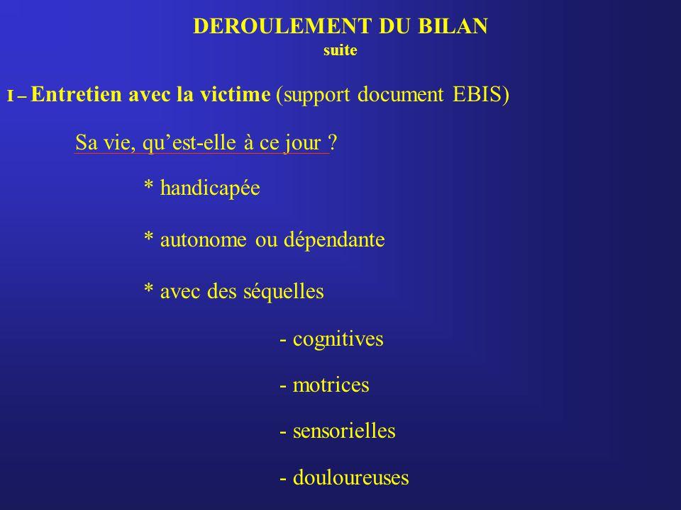 DEROULEMENT DU BILAN suite I – Entretien avec la victime (support document EBIS) Sa vie, qu'est-elle à ce jour ? * handicapée * autonome ou dépendante
