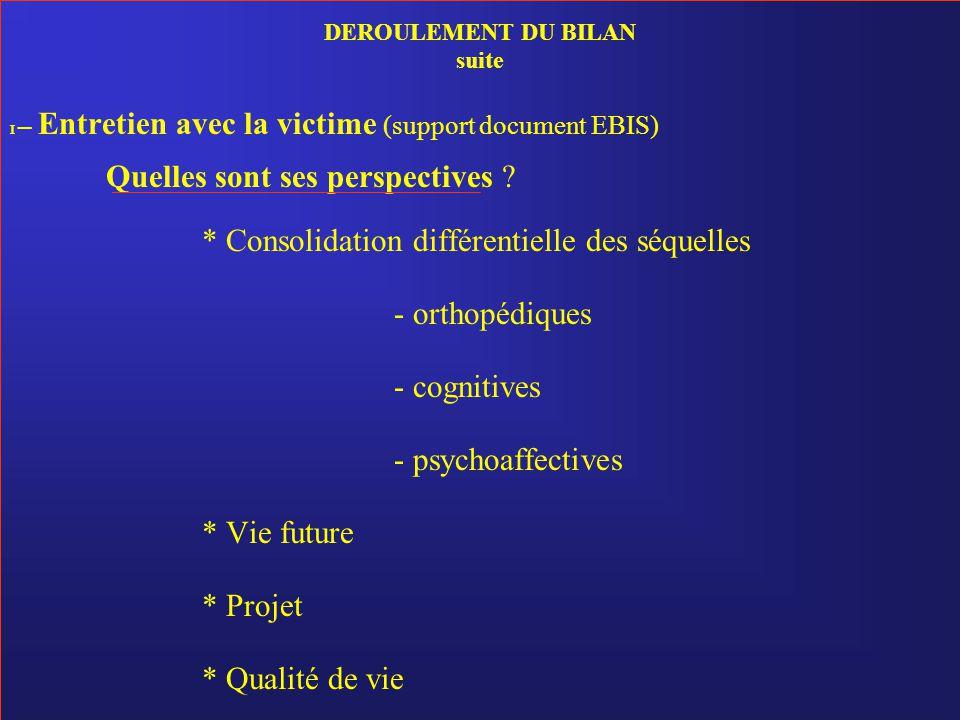 DEROULEMENT DU BILAN suite I – Entretien avec la victime (support document EBIS) Quelles sont ses perspectives ? * Consolidation différentielle des sé