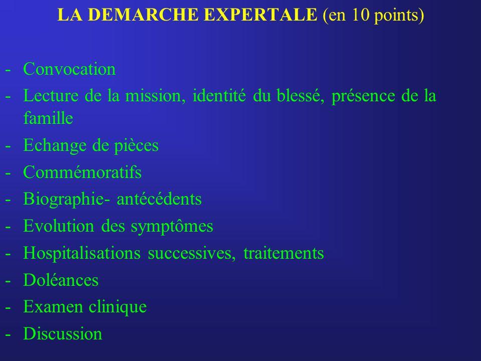 LA DEMARCHE EXPERTALE (en 10 points) -Convocation -Lecture de la mission, identité du blessé, présence de la famille -Echange de pièces -Commémoratifs