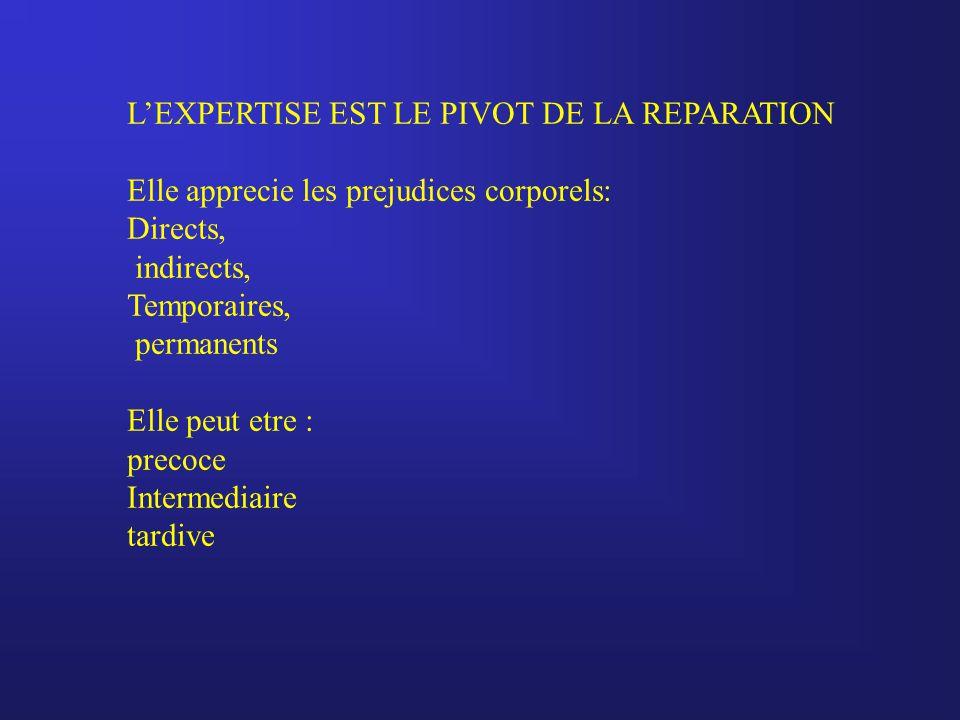 L'EXPERTISE EST LE PIVOT DE LA REPARATION Elle apprecie les prejudices corporels: Directs, indirects, Temporaires, permanents Elle peut etre : precoce