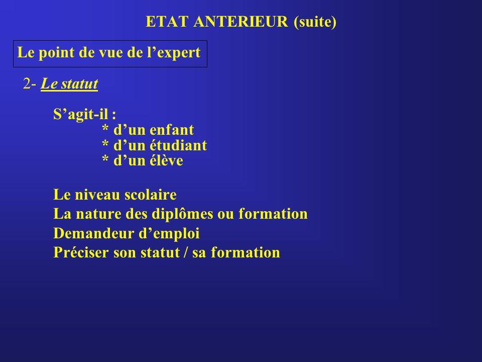 ETAT ANTERIEUR (suite) Le point de vue de l'expert 2- Le statut S'agit-il : * d'un enfant * d'un étudiant * d'un élève Le niveau scolaire La nature de