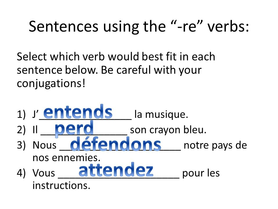 Example verbs: These are your four verbs of the week! Write the definition before completing the charts 1.Attendre- to wait 2.Défendre- to defend 3.En