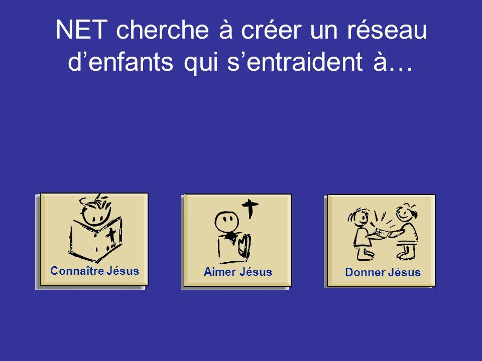 NET cherche à créer un réseau d'enfants qui s'entraident à… Connaître JésusAimer JésusDonner Jésus