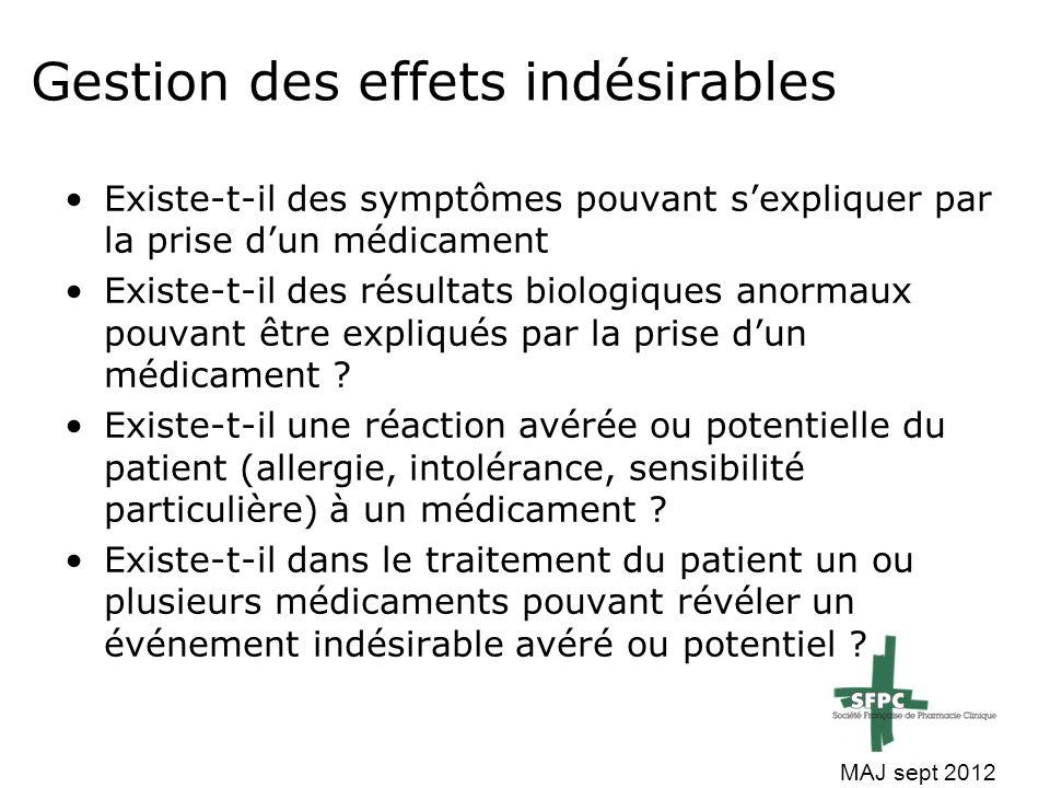 Gestion des effets indésirables Existe-t-il des symptômes pouvant s'expliquer par la prise d'un médicament Existe-t-il des résultats biologiques anorm
