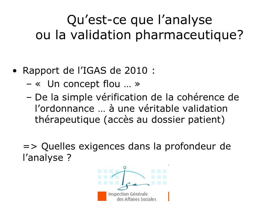 Rapport de l'IGAS de 2010 : –« Un concept flou … » –De la simple vérification de la cohérence de l'ordonnance … à une véritable validation thérapeutiq