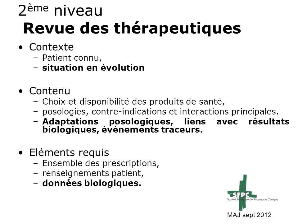2 ème niveau Revue des thérapeutiques Contexte –Patient connu, –situation en évolution Contenu –Choix et disponibilité des produits de santé, –posolog