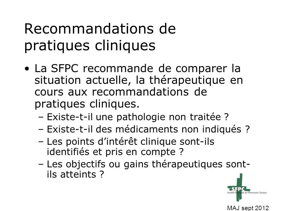 La SFPC recommande lors de l'analyse des thérapeutiques en cours de : Vérifier les choix de médicaments Vérifier les posologies Vérifier les interactions –Pharmacologique –Physico-chimiques MAJ sept 2012