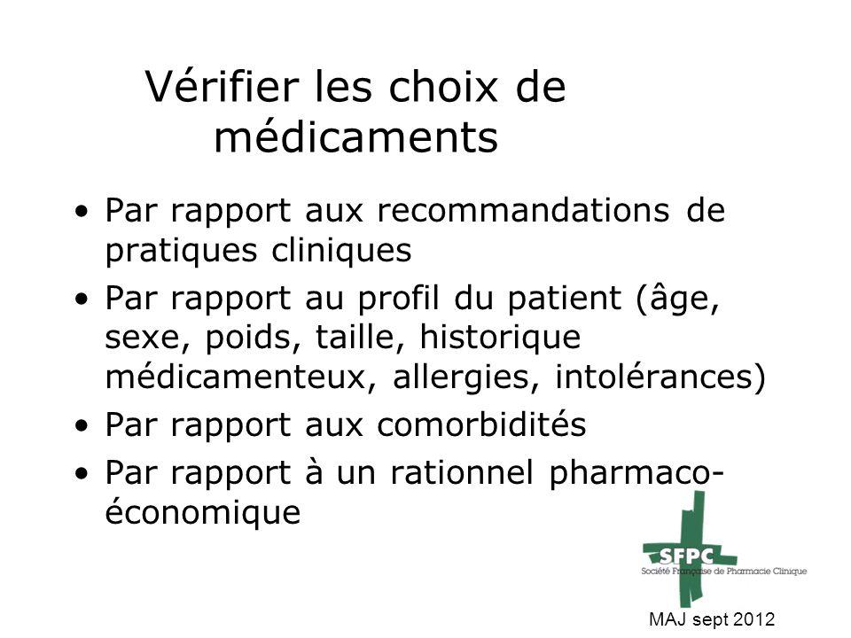 Vérifier les choix de médicaments Par rapport aux recommandations de pratiques cliniques Par rapport au profil du patient (âge, sexe, poids, taille, h