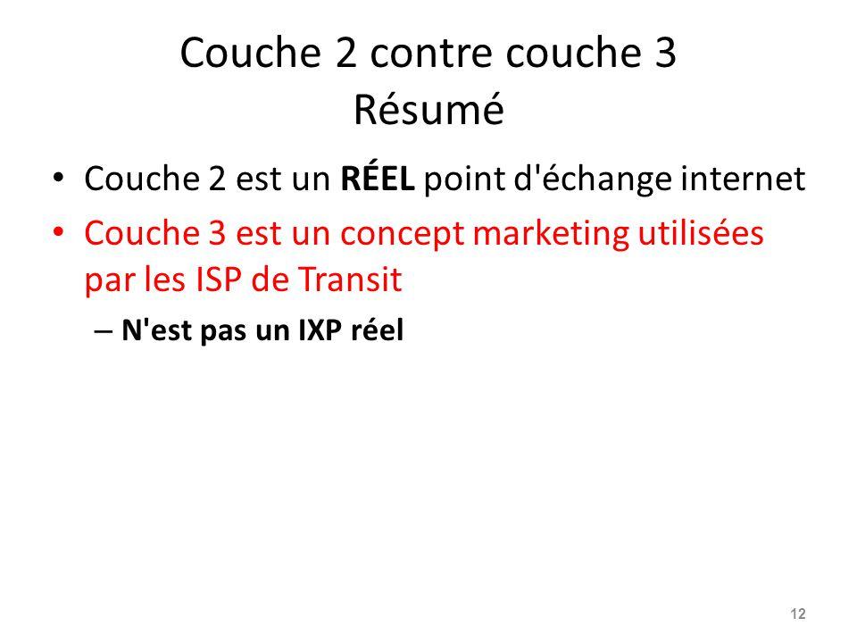 Couche 2 contre couche 3 Résumé Couche 2 est un RÉEL point d échange internet Couche 3 est un concept marketing utilisées par les ISP de Transit – N est pas un IXP réel 12