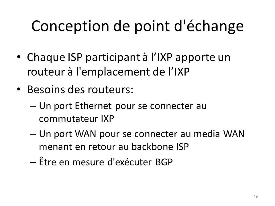 Conception de point d échange Chaque ISP participant à l'IXP apporte un routeur à l emplacement de l'IXP Besoins des routeurs: – Un port Ethernet pour se connecter au commutateur IXP – Un port WAN pour se connecter au media WAN menant en retour au backbone ISP – Être en mesure d exécuter BGP 15
