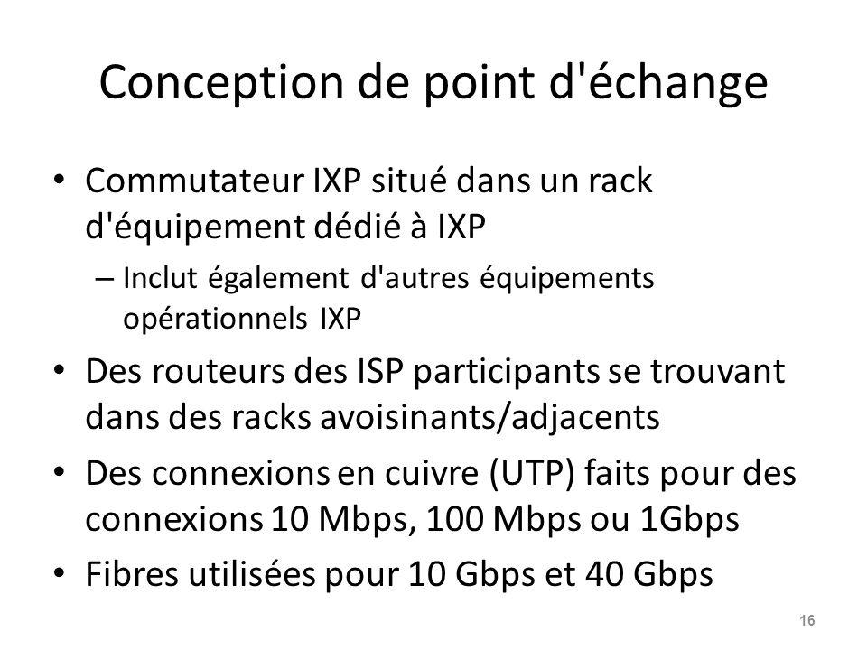 Conception de point d échange Commutateur IXP situé dans un rack d équipement dédié à IXP – Inclut également d autres équipements opérationnels IXP Des routeurs des ISP participants se trouvant dans des racks avoisinants/adjacents Des connexions en cuivre (UTP) faits pour des connexions 10 Mbps, 100 Mbps ou 1Gbps Fibres utilisées pour 10 Gbps et 40 Gbps 16