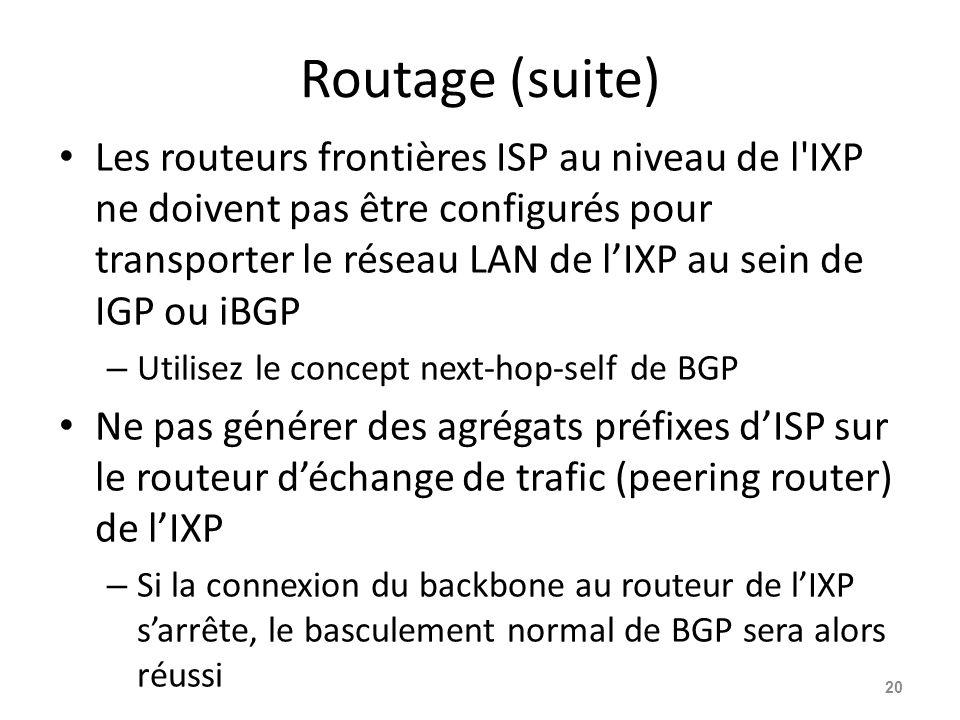 Routage (suite) Les routeurs frontières ISP au niveau de l IXP ne doivent pas être configurés pour transporter le réseau LAN de l'IXP au sein de IGP ou iBGP – Utilisez le concept next-hop-self de BGP Ne pas générer des agrégats préfixes d'ISP sur le routeur d'échange de trafic (peering router) de l'IXP – Si la connexion du backbone au routeur de l'IXP s'arrête, le basculement normal de BGP sera alors réussi 20